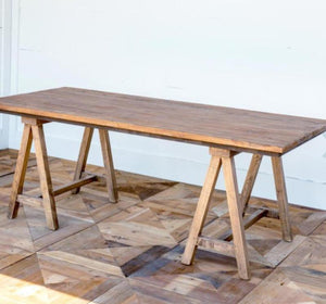 Reclaimed Wood Sawhorse Table