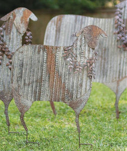 Corrugated Metal Christmas Sheep Yard Art Set of 3