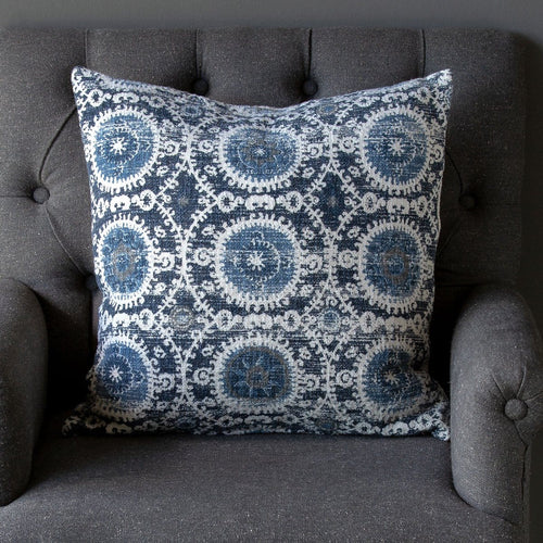 Suzani Printed Cotton Pillow Blue