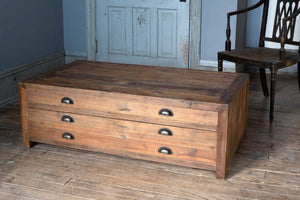 Old Pine Map Drawer Coffee Table