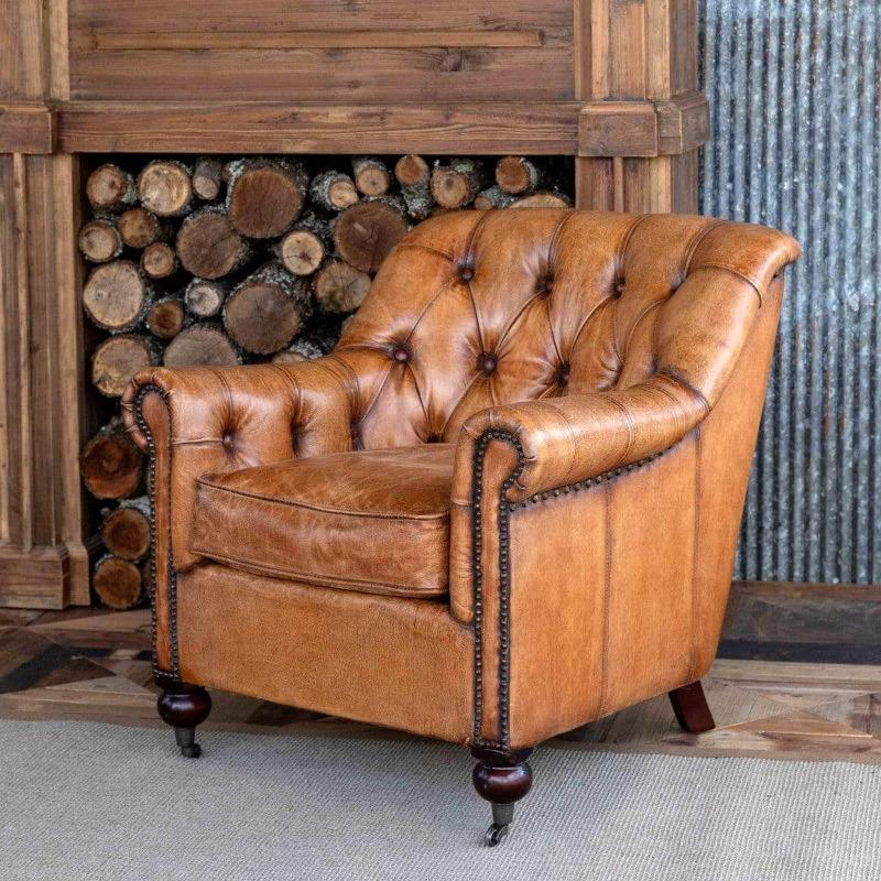 Carmel Leather Tufted Club Chair