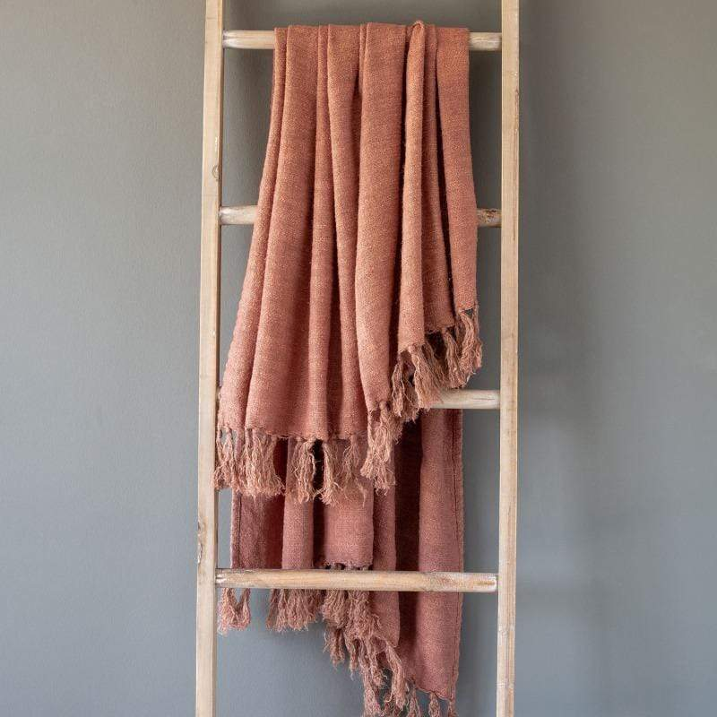 Washed Linen Throw, Faded Coral