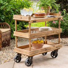 Wooden Bakery Serving Cart