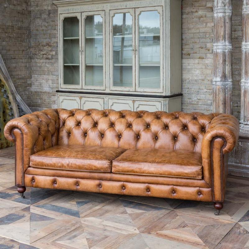 Harrisburg Leather Library Sofa