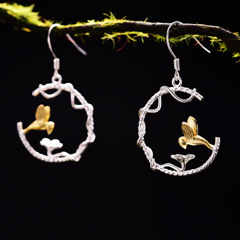 Real 925 Sterling Silver Natural Creative Handmade Fine Jewelry Perfect Lovely Bird Drop Earrings for Women Brincos