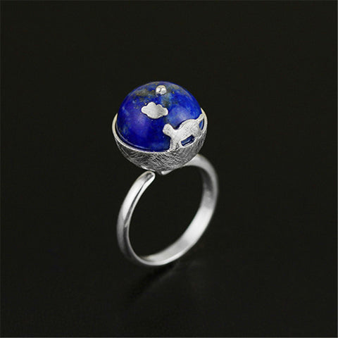 Real 925 Sterling Silver Natural Lapis Stone Original Handmade Designer Fine Jewelry Cat's Dream Female Rings Bijoux