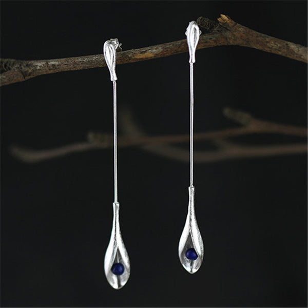 Real 925 Sterling Silver Natural Lapis Handmade Fine Jewelry Vintage Elegant Long Dangle Earrings for Women Brincos