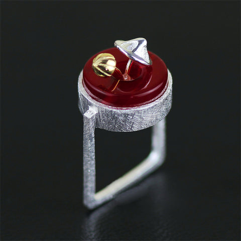 Real 925 Sterling Silver Natural Creative Handmade Designer Fine Jewelry cute Mushroom Square Rings for Women Bijoux