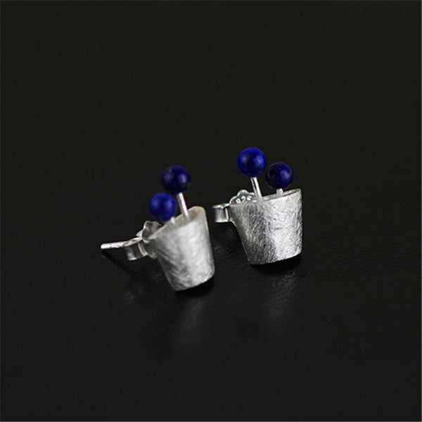 eal 925 Sterling Silver Natural Lapis Original Handmade Fine Jewelry Plant Fruits Stud Earrings for Women Brincos