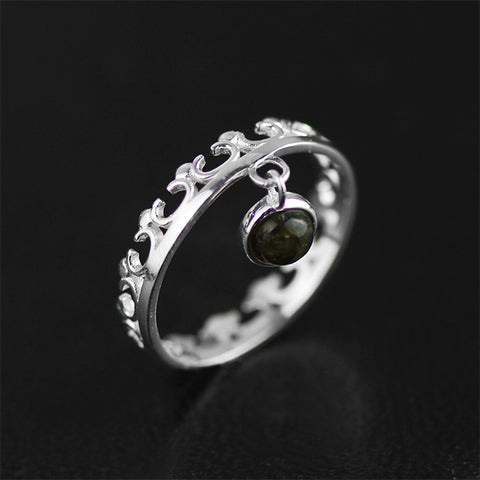 Real 925 Sterling Silver Natural Stone Original Handmade Designer Fine Jewelry Vintage Crown Rings for Women Bijoux