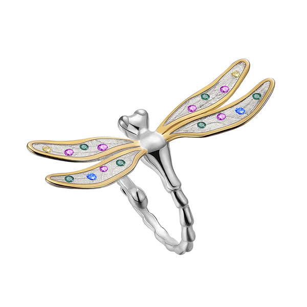 Real 925 Sterling Silver Handmade Fine Jewelry Multicolor Zirconia Beautiful Dragonfly Design Rings For Women