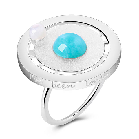 Real 925 Sterling Silver Valentine's Day Gift You Are My Planet Creative Design Handmade Fine Jewelry Rotatable Ring