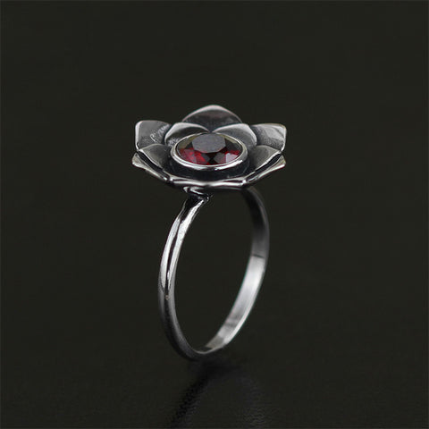 Real 925 Sterling Silver Natural Stone Handmade Original Designer Fine Jewelry Vintage Pure Lotus Female Rings Bijoux