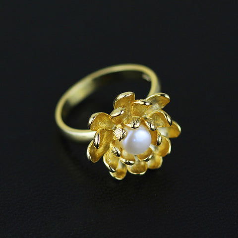 Real 925 Sterling Silver Natural Pearl Handmade Designer Fine Jewelry Blooming Lotus Flower Rings for Women Bijoux