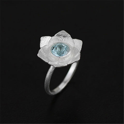 Real 925 Sterling Silver Natural Topaz Stone Creative Handmade Designer Fine Jewelry Pure Lotus Rings for Women Bijoux