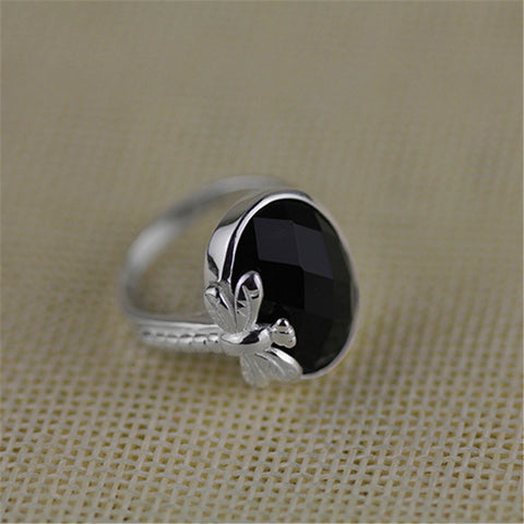 Real 925 Sterling Silver Natural Stone Handmade Original Designer Fine Jewelry Vintage Black Agate Female Rings Bijoux