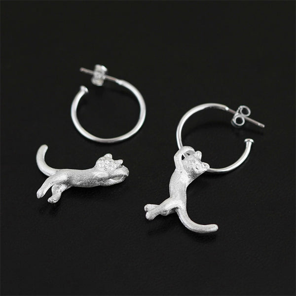 Real 925 Sterling Silver Natural Original Handmade Fine Jewelry Cute Kung Fu Cat Drop Earrings for Women Brincos