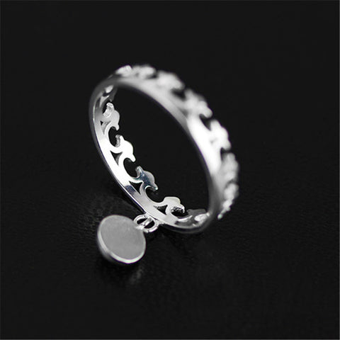 Real 925 Sterling Silver Natural Stone Handmade Creative Designer Fine Jewelry Cute Crown Round Female Rings Bijoux