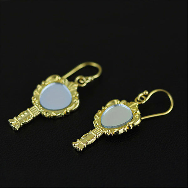 Real 925 Sterling Silver Natural Creative Handmade Fine Jewelry Vintage Magic Mirror Drop Earrings for Women Brincos