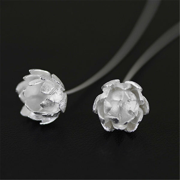 Real 925 Sterling Silver Natural Original Handmade Fine Jewelry Lotus Flower Fashion Drop Earrings for Women Brincos