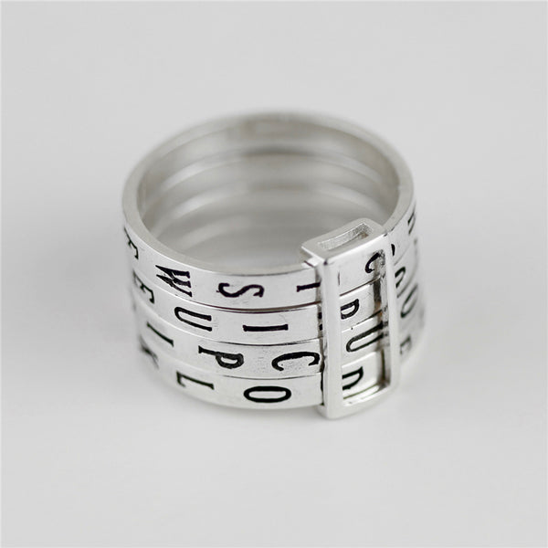 Real 925 Sterling Silver Natural Handmade Fine Jewelry Rotatable Ring Can Make Different Words Rings for Women Bijoux