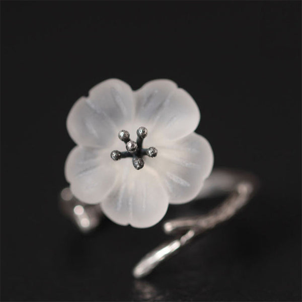 Real 925 Sterling Silver Natural Handmade Fine Jewelry Flower in the Rain Ring Open Rings for Women Female Bijoux