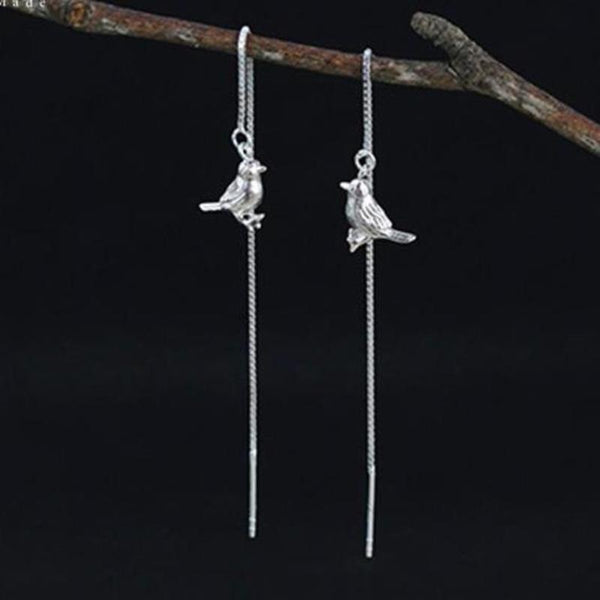 Real 925 Sterling Silver Natural Original Handmade Fine Jewelry Interesting Cute Bird Drop Earrings for Women Brincos