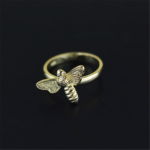 Real 925 Sterling Silver Natural Original Handmade Designer Fine Jewelry Vintage Cute Honeybee Female Rings Bijoux