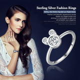 Authentic 100% 925 Sterling Silver Dazzling Mickey Mouse Rings for Women