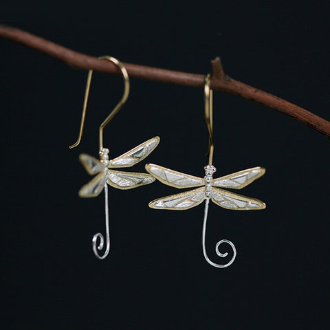 Real 925 Sterling Silver Natural Style Handmade Fine Jewelry Cute Dragonfly Drop Earrings for Women Brincos