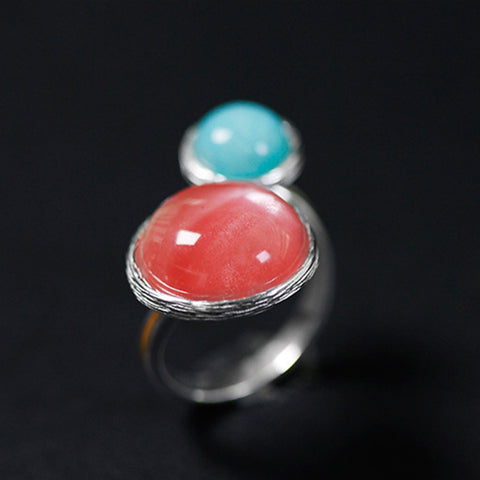 Real 925 Sterling Silver Natural Stone Creative Handmade Designer Fine Jewelry Candy House Rings for Women Bijoux