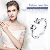 Genuine 925 Sterling Silver Heart Always Together Open Finger Ring for Women Engagement Ring