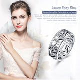 High Quality 925 Sterling Silver Flower Leaf Leaves Story ,Clear CZ Ring for Women Sterling Silver Ring Gift
