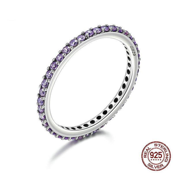 925 Sterling Silver Stackable Ring Classical Round Purple Dazzling CZ Finger Rings for Women Engagement Ring