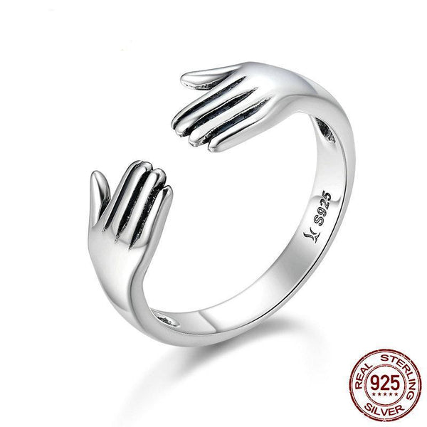 Genuine 925 Sterling Silver Double Layer Give Me A Hug Hand Open Finger Rings for Women Sterling Silver Ring