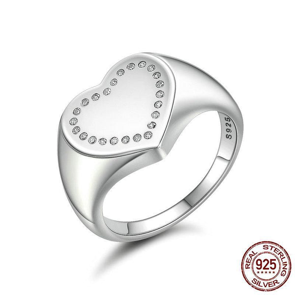 Authentic 100% 925 Sterling Silver Heart Signet, Dazzling CZ Finger Ring Women Sterling Silver Ring Gift Anel