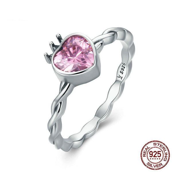 Authentic 925 Sterling Silver Pink CZ Heart in Crown Twisted Finger Ring for Women Wedding Engagement Ring Gift