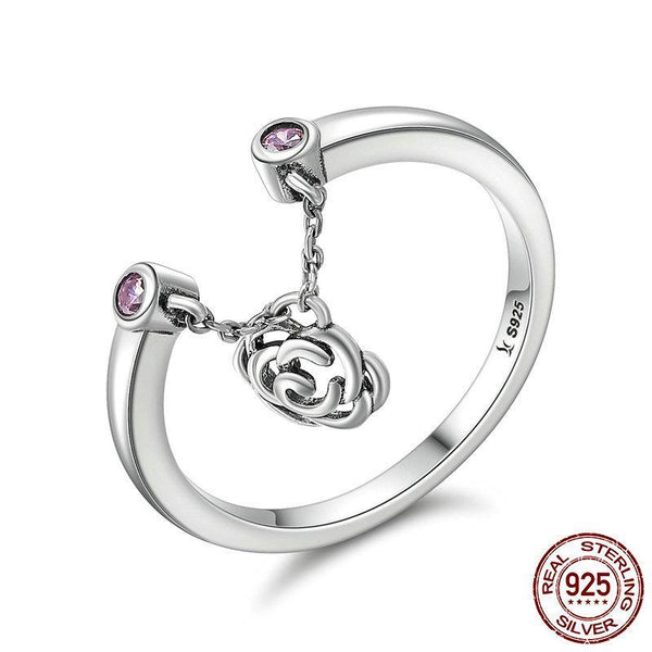 New Design Authentic 925 Sterling Silver Flower Rose Story Rose Dangle Ring Women Sterling Silver Ring Gift