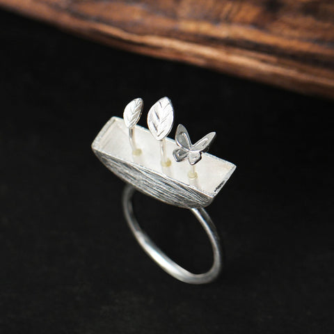 Real 925 Sterling Silver Natural Creative Handmade Designer Fine Jewelry My Little Garden Open Rings for Women Bijoux