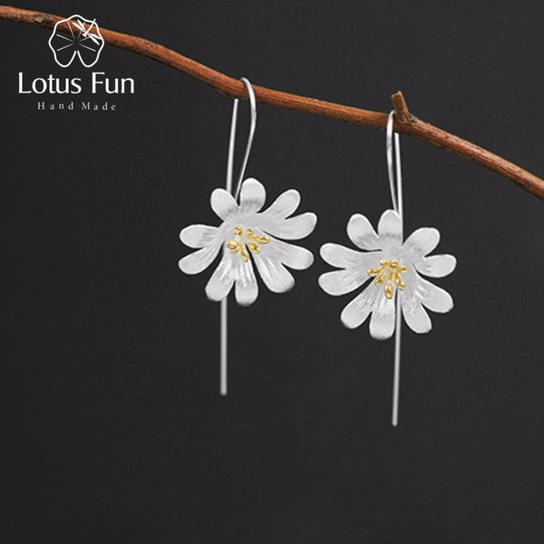Real 925 Sterling Silver Creative Handmade Designer Fine Jewelry Nice Blooming Flowers Dangle Earrings for Women