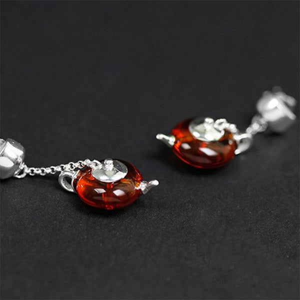 Real 925 Sterling Silver Natural Amber Original Handmade Fine Jewelry Cute Teapot Dangle Earrings for Women Bijoux