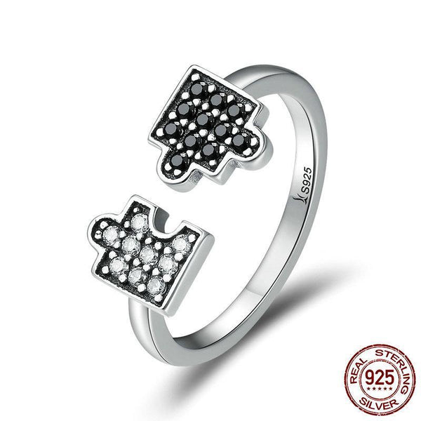 Authentic 100% 925 Sterling Silver Glamour Puzzle Clear CZ Open Finger Rings for Women Sterling Silver Ring