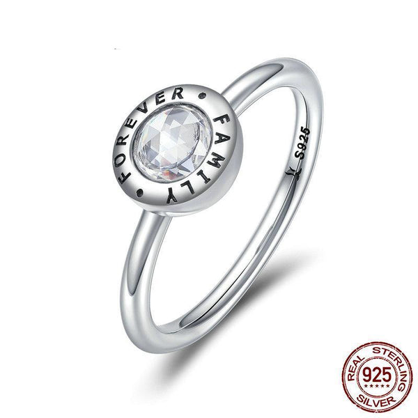 Authentic 100% 925 Sterling Silver Forever Family Clear CZ Finger Rings for Women Luxury Silver Ring Anel