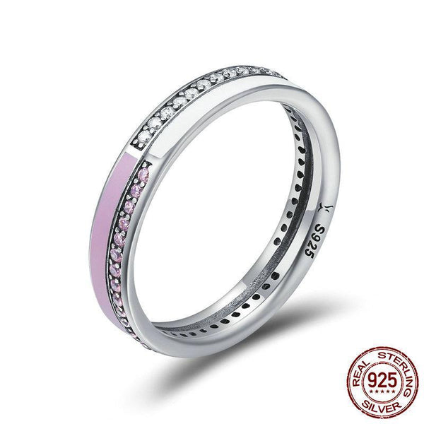 Authentic 925 Sterling Silver Radiant Pink Enamel Double Layer Finger Rings for Women Sterling Silver Ring Anel
