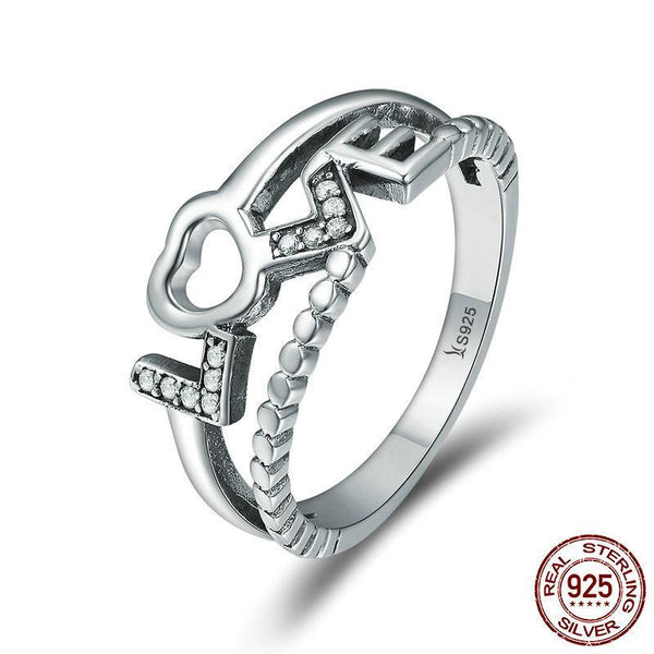 Genuine 100% 925 Sterling Silver Truth Of Love Letter Finger Rings for Women Luxury Sterling Silver Ring