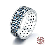 925 Sterling Silver Stackable Ring Charming Ocean Round Cocktail Finger Rings for Women Sterling Silver Ring