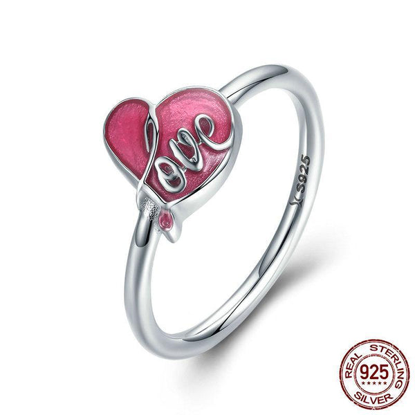 Authentic 925 Sterling Silver Sweet Love Heart Pink Enamel Finger Ring Female Women Anniversary Engagement Ring
