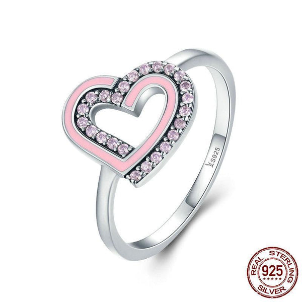 Romantic 925 Sterling Silver Glittering CZ  Double Heart Female Finger Ring Women Wedding Engagement Ring