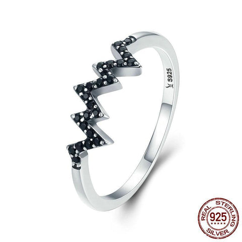 Hot Sale 925 Sterling Silver Sparkling CZ Heart Wave Black Finger Ring for Women Anniversary Engagement Ring