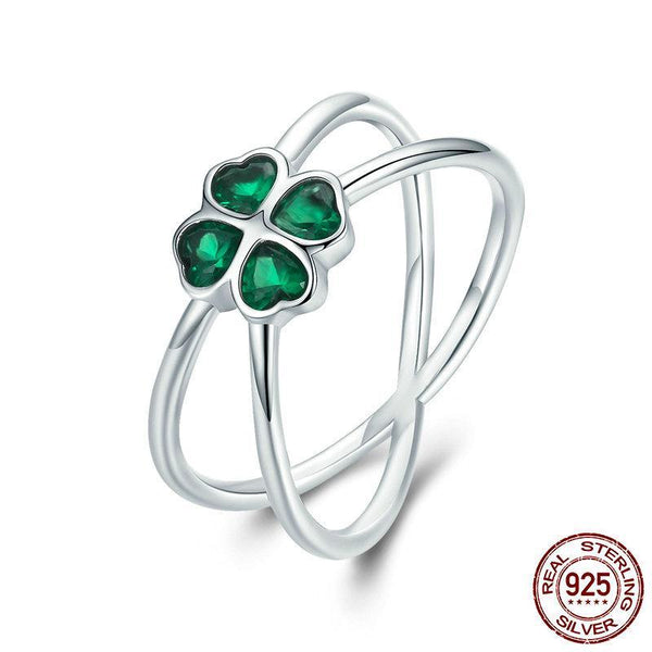 Hot Sale 100% 925 Sterling Silver Lucky Green Clover Flower Finger Ring for Women Party Engagement Ring